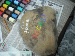 Our home rock starting to paint.